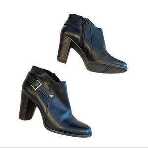 Nine West heeled black booties with square toe